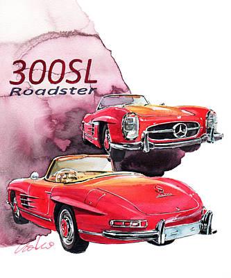 Roadster Painting - Mercedes 300sl Roadster by Yoshiharu Miyakawa