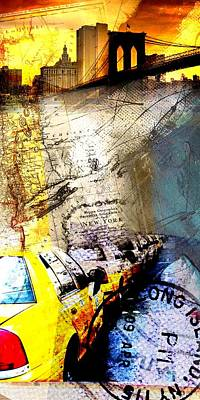 Abstract Collage Drawing - New York Collage by Michael Kuelbel