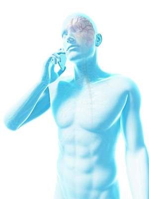 Person Using A Mobile Phone Art Print by Sebastian Kaulitzki