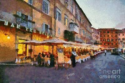 Painting - Piazza Navona In Rome by George Atsametakis