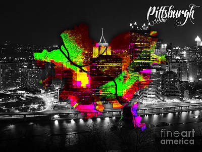 Pittsburgh Map And Skyline Watercolor Art Print