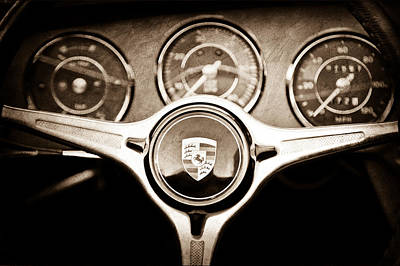 Porsche Steering Wheel Emblem Art Print by Jill Reger