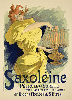 Gas Lamp Drawing - Reproduction Of A Poster Advertising by Jules Cheret