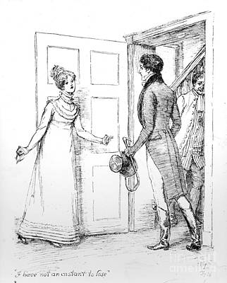 Distressed Drawing - Scene From Pride And Prejudice By Jane Austen by Hugh Thomson