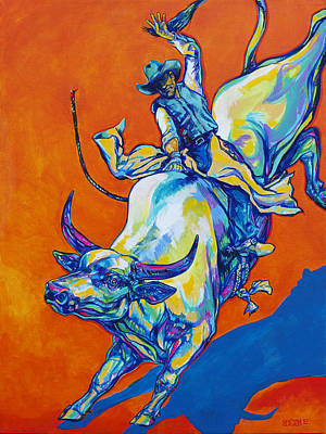 Bucking Bull Painting - 8 Second Insanity by Derrick Higgins