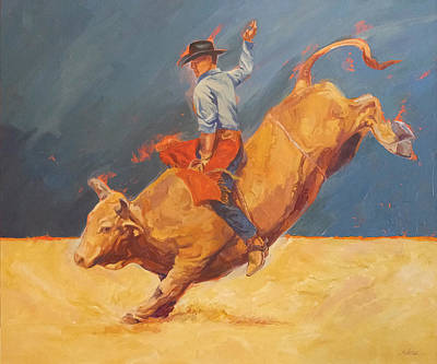 Bull Riding Painting - 8 Seconds And Counting by Shawn Shea