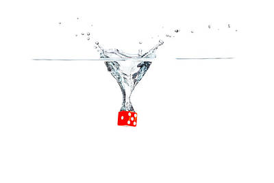 Photograph - Splashing Dice by Peter Lakomy