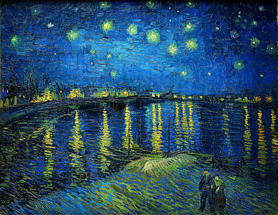 Impressionism Paintings - Starry Night Over the Rhone by Vincent van Gogh