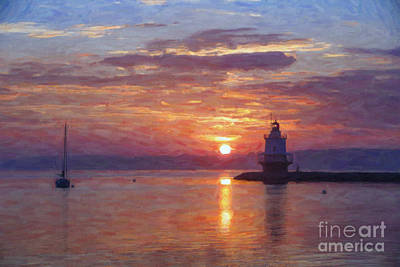 Portland Lighthouse Photograph - Sunrise At Spring Point Lighthouse by Diane Diederich