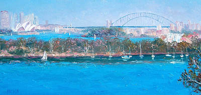 Australian Holiday Painting - Sydney Harbour The Bridge And The Opera House By Jan Matson by Jan Matson