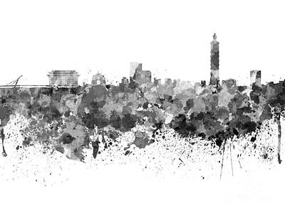 Taipei Painting - Taipei Skyline In Watercolor On White Background by Pablo Romero