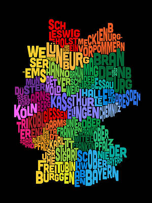 Text Map Of Germany Map Art Print by Michael Tompsett