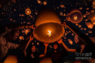 Thai People Floating Lamp Art Print by Anek Suwannaphoom