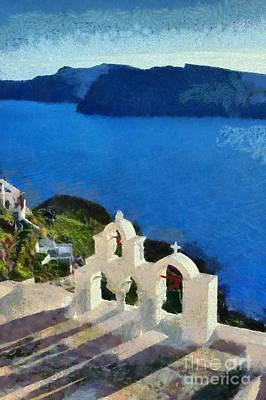 Painting - Traditional Belfry In Santorini Island by George Atsametakis
