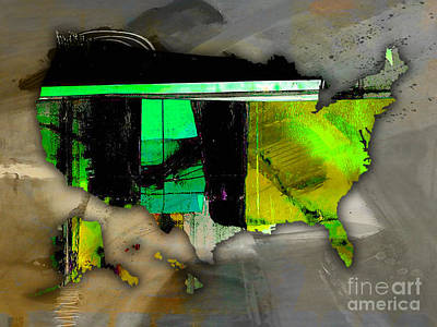 Mixed Media - United States Map by Marvin Blaine
