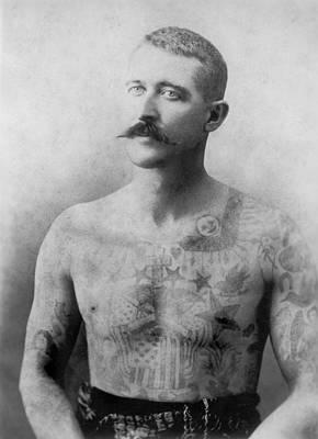Tattooed Man Flash Art Original