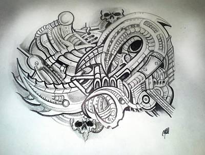 Steampunk Drawings - Untitled by Chris Gill