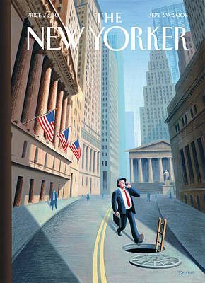 Hall Painting - New Yorker September 29th, 2008 by Eric Drooker