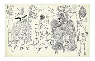 Fashion Drawing - New Yorker December 13th, 2004 by Saul Steinberg