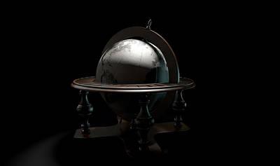 Global Digital Art - Vintage Wooden World Globe by Allan Swart