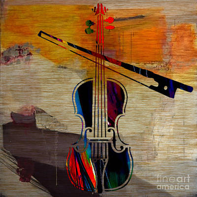 Violin Mixed Media - Violin And Bow by Marvin Blaine