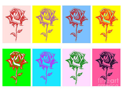 Painting - 8 Warhol Roses By Punt by Gordon Punt