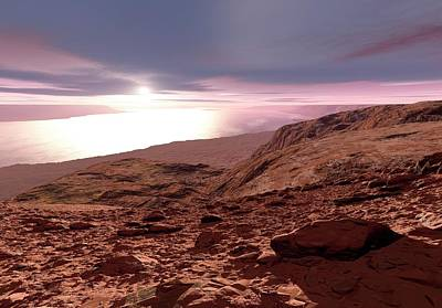Water On Mars Print by Detlev Van Ravenswaay