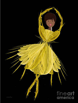 8 Yellow Ballerina Art Print by Andee Design