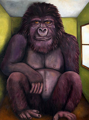 Green Monkey Painting - 800 Pound Gorilla In The Room Edit 1 by Leah Saulnier The Painting Maniac