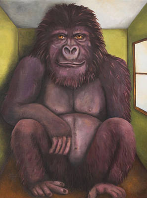 Green Monkey Painting - 800 Pound Gorilla In The Room Edit 4 by Leah Saulnier The Painting Maniac