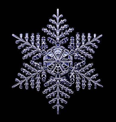 Crystalline Photograph - Snowflake by Kenneth Libbrecht