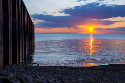 Print featuring the photograph 8.16.13 Sunrise Over Lake Michigan North Of Chicago 001 by Michael  Bennett