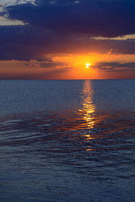 Print featuring the photograph 8.16.13 Sunrise Over Lake Michigan North Of Chicago 002 by Michael  Bennett