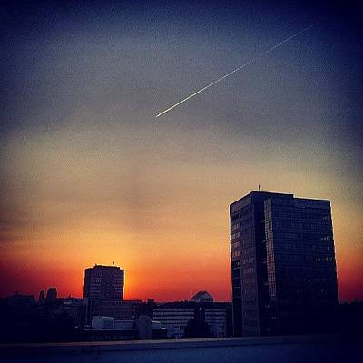 Abstract Skyline Wall Art - Photograph - Colorful Sundown Duisburg by Jacks Skystore