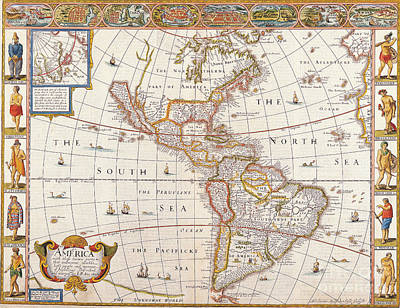 The Americas Painting - Antique Map by Baltzgar