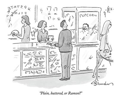 Snack Drawing - Plain, Buttered, Or Ramon? by Danny Shanahan