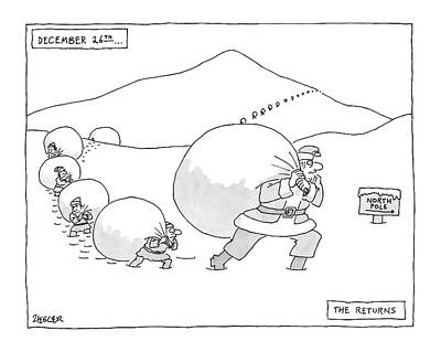 North Drawing - December 26th . . . The Returns by Jack Ziegler