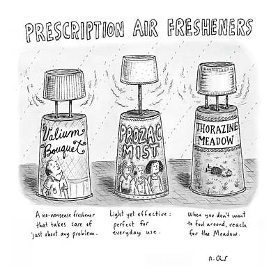 Meadow Drawing - Prescription Air Fresheners by Roz Chast