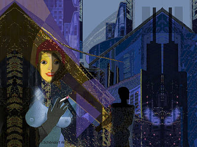 Digital Art - 831 - Big City Darkness by Irmgard Schoendorf Welch