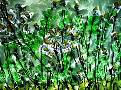Stalk Mixed Media - Heavenly Flowers by Baljit Chadha