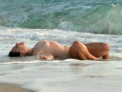 Naturist Art Photograph - 8369 Nude Island Girl Lying In Surf  by Chris Maher