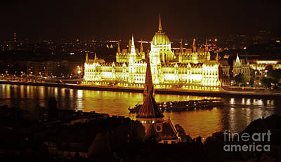 Photograph - Budapest Hungary Night Panorama by Gregory Dyer