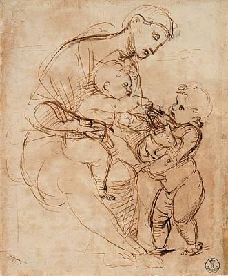 Woman And Baby Photograph - Italy, Tuscany, Florence, Uffizi by Everett
