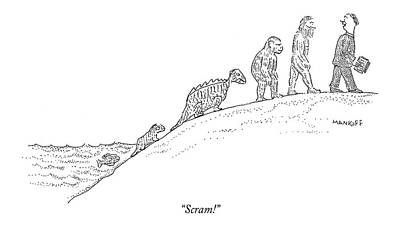Creationism Drawing - Scram! by Robert Mankoff