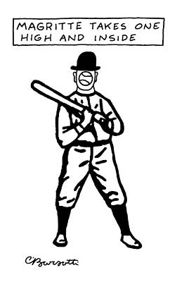 Baseball Art Drawing - Magritte Takes One High by Charles Barsotti