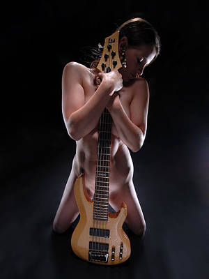Photograph - 8790 Nude With 5 String Bass Guitar by Chris Maher