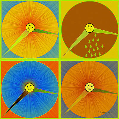 Digital Art - 880 - Rain And Shine Clocks  by Irmgard Schoendorf Welch