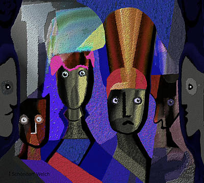 Painting - 883 -  Royal Heads  Surreal Portraits by Irmgard Schoendorf Welch