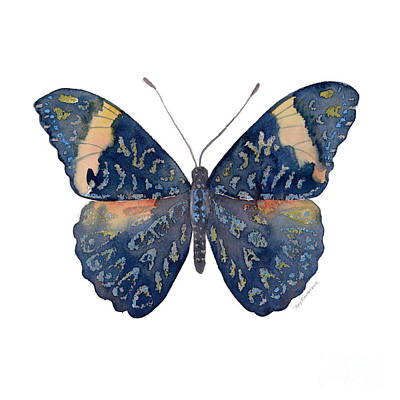 Blue And Red Painting - 89 Red Cracker Butterfly by Amy Kirkpatrick