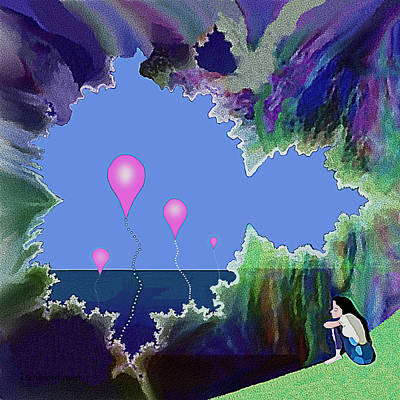 Digital Art - 891 -  Balloons Dreaming  On  Shore by Irmgard Schoendorf Welch